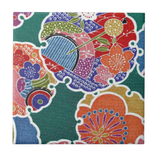 Japanisches KIMONO Gewebe, Floret-Muster Kleine Quadratische Fliese