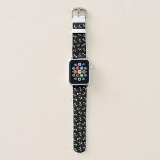 Japanisches Libellen-Muster, Schwarzweiss Apple Watch Armband