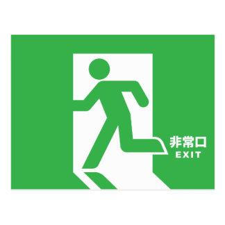 Japanisches Notausgang-Zeichen Postkarten