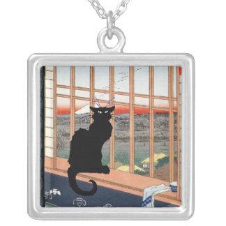 Japanisches schwarze Katzen-Fenster Versilberte Kette