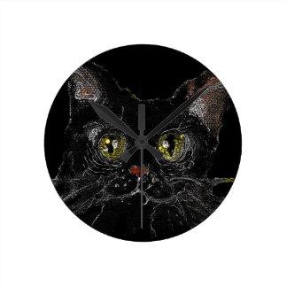 JASPIS - Ihre schwarze Katze HALLOWEENS Runde Wanduhr