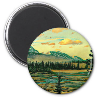 Jaspis-Nationalpark-Fluss mit Mountain View Runder Magnet 5,1 Cm