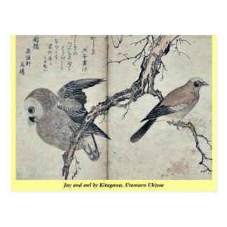 Jay und Eule durch Kitagawa, Utamaro Ukiyoe Postkarte