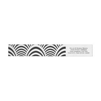 Jazz-Alters-Kunst-Deko-Eleganz Schwarzweiss Rundum-Adressaufkleber