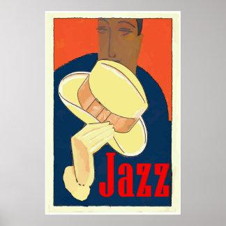 Jazz-Mann mit gelbem Hut Poster