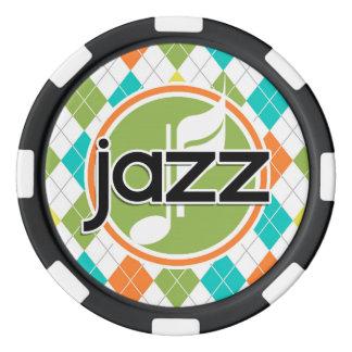 Jazz-Musik; Buntes Rauten-Muster Pokerchips