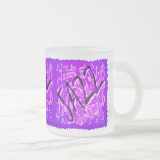 Jazz-Musik-Muster-lila violette musikalische Mattglastasse