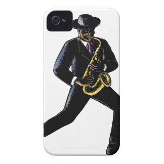 Jazz-Musiker, der Saxophon Scratchboard spielt iPhone 4 Case-Mate Hülle