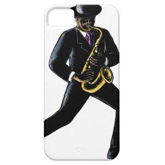 Jazz-Musiker, der Saxophon Scratchboard spielt Schutzhülle Fürs iPhone 5