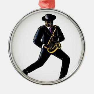 Jazz-Musiker, der Saxophon Scratchboard spielt Silbernes Ornament