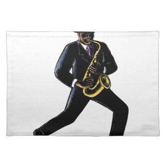 Jazz-Musiker, der Saxophon Scratchboard spielt Stofftischset