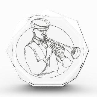 Jazz-Musiker, der Trompete-Gekritzel-Kunst spielt Auszeichnung