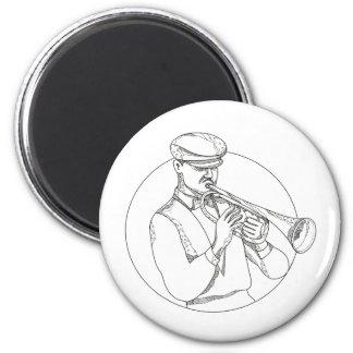 Jazz-Musiker, der Trompete-Gekritzel-Kunst spielt Runder Magnet 5,7 Cm