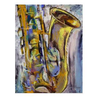 Jazz-Saxophon-Postkarte Postkarte