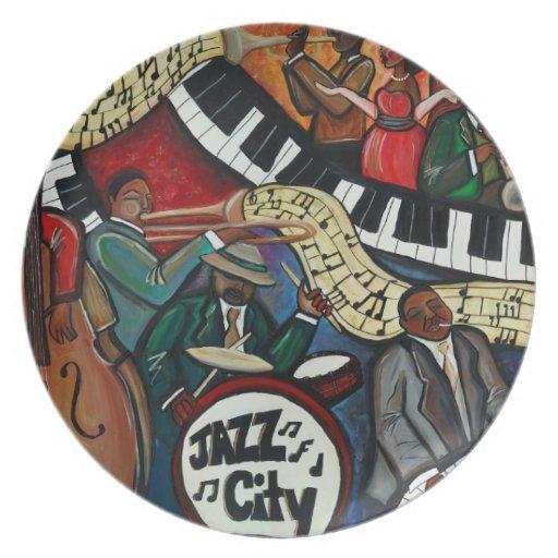 Jazz-Stadt-Platte Flache Teller