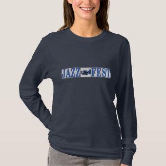 Jazzfest-blaues Horn u. Buchstaben T-Shirt