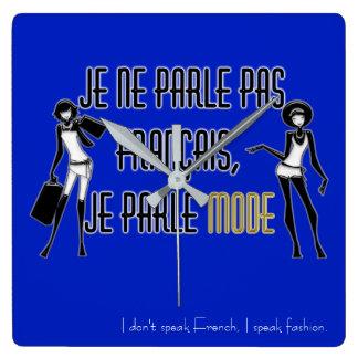 Je ne parle pas français - wall clock quadratische wanduhr