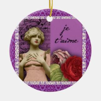 Je T'aime lila romantisches Mädchen-Vintage Keramik Ornament