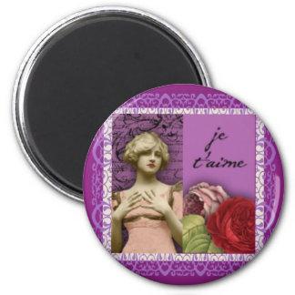 Je T'aime lila romantisches Mädchen-Vintage Runder Magnet 5,1 Cm