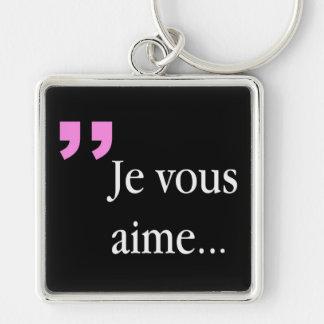 JE VOUS AIME auf schwarzen Franzosen Keychain Schlüsselanhänger