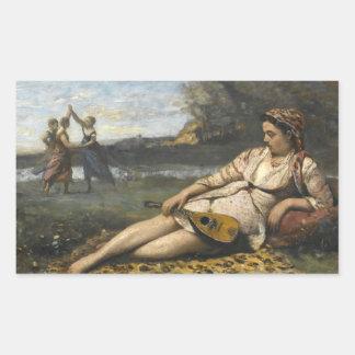 Jean-Baptiste-Camille Corot - junge Frauen von Rechteckiger Aufkleber