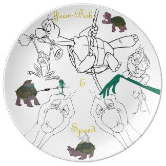"""Jean-Bob&Speed Porzellan-Skizze-Platte (10,75"""") Porzellanteller"""