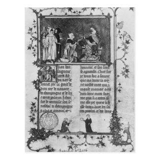 Jean de Joinville, der sein Buch auf St. Louis Postkarte