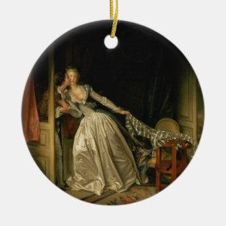 Jean-Honore Fragonard - der gestohlene Kuss - Keramik Ornament