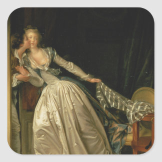 Jean-Honore Fragonard - der gestohlene Kuss - Quadratischer Aufkleber