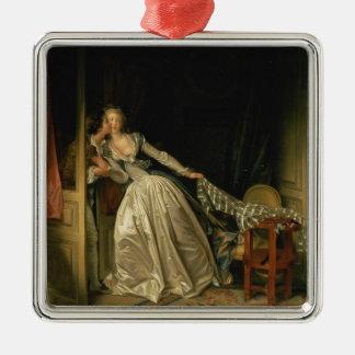 Jean-Honore Fragonard - der gestohlene Kuss - Silbernes Ornament
