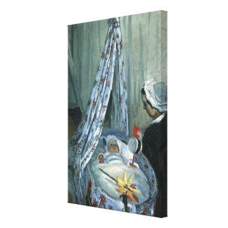 Jean Monet in seiner Wiege durch Claude Monet Leinwanddruck