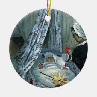 Jean Monet in seiner Wiege durch Claude Monet Rundes Keramik Ornament