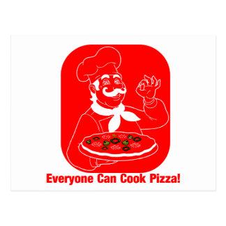 Jeder kann Pizza kochen Postkarte