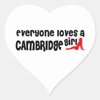 Jeder Lieben ein Cambridge-Mädchen Herz-Aufkleber
