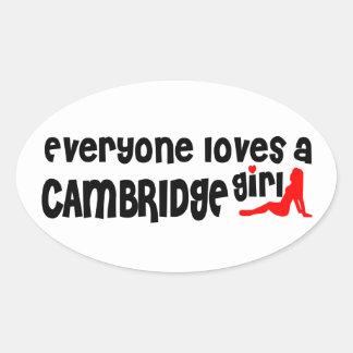 Jeder Lieben ein Cambridge-Mädchen Ovaler Aufkleber