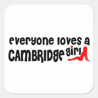 Jeder Lieben ein Cambridge-Mädchen Quadratischer Aufkleber