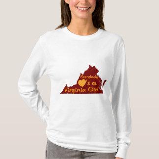 Jeder Lieben ein Virginia-Mädchen-Kastanienbraun T-Shirt