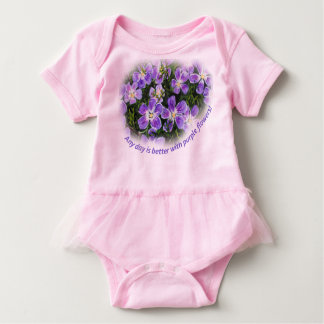 """""""Jeder möglicher Tag ist Tutu mit der lila Blumen"""" Baby Strampler"""