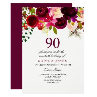 Jedes Blumen90. Geburtstags-Party Karte