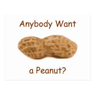 Jedes wollen eine Erdnuss? Riesige Erdnuss im Postkarte