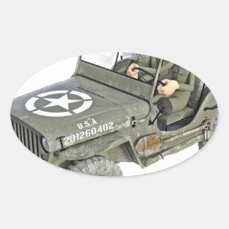 Jeep mit 2 Cartoonsoldaten Ovaler Aufkleber