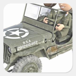 Jeep mit 2 Cartoonsoldaten Quadratischer Aufkleber