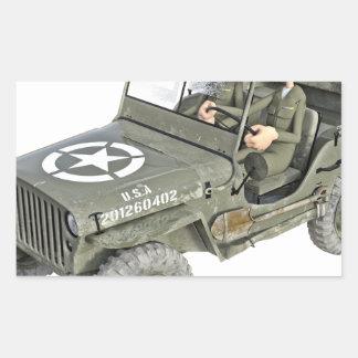Jeep mit 2 Cartoonsoldaten Rechteckiger Aufkleber