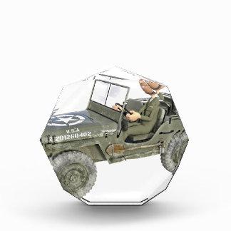 Jeep mit einem Cartoon-Soldaten Auszeichnung