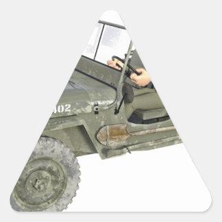 Jeep mit einem Cartoon-Soldaten Dreieckiger Aufkleber