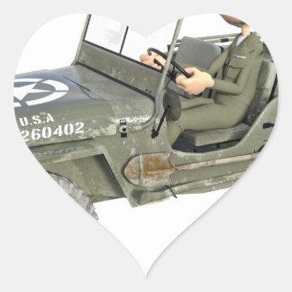 Jeep mit einem Cartoon-Soldaten Herz-Aufkleber