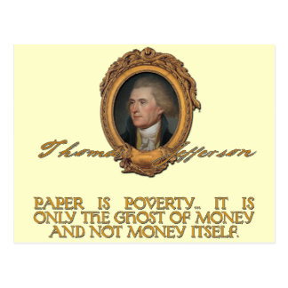 Jefferson auf Papiergeld Postkarte