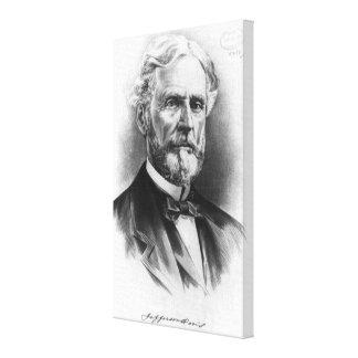 Jefferson Davis-Porträt durch I.S. Johnson u. Co Leinwanddruck