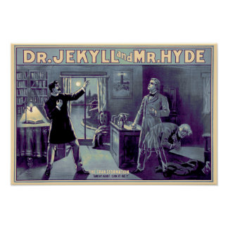 Jek u. Hyde-Plakat - Blau Poster