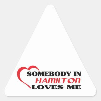 Jemand in Hamilton-Lieben ich Dreieckiger Aufkleber